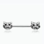 Kitty Cat Multi-Gem Nipple Barbell Ring