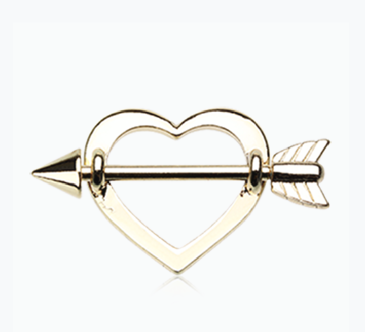 Golden Cupid's Heart Nipple Shield Ring