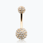 Golden Pave Half Dome Diamond Cluster Belly Button Ring