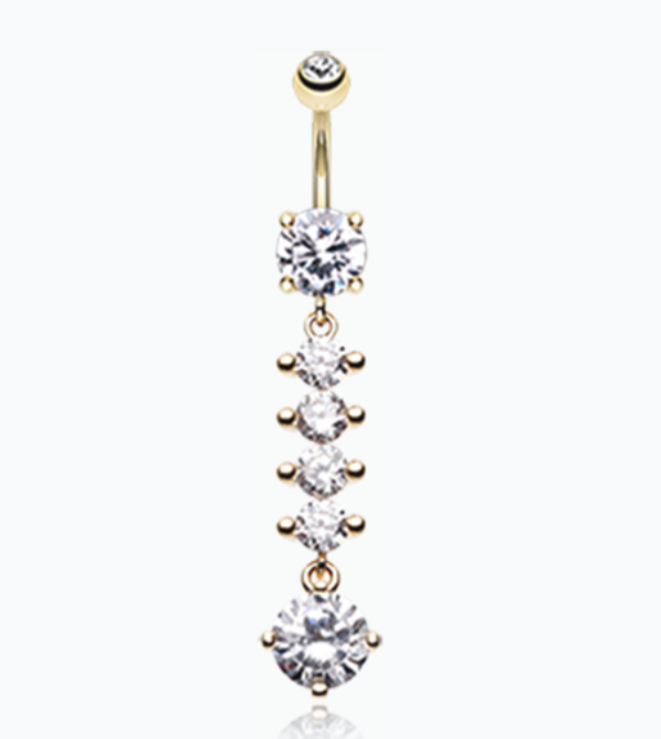Classy Multi-Gem Sparkle Cubic Zirconia Belly Ring