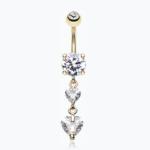 Elegant Double Hearts Cubic Zirconia Belly Ring