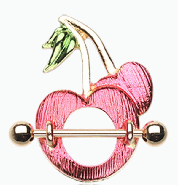 Golden Sweet Cherries Nipple Shield Ring