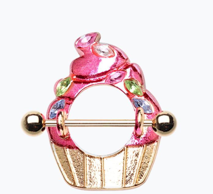Golden Adorable Cupcake Nipple Shield Ring