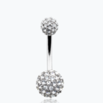 Pave Half Dome Diamond Cluster Belly Button Ring