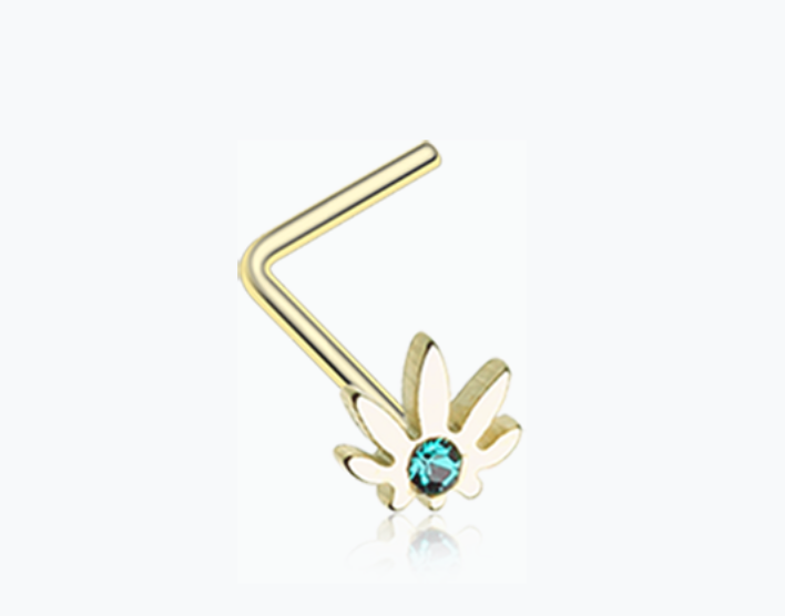 Golden Cannabis Sparkle L-Shaped Nose Ring