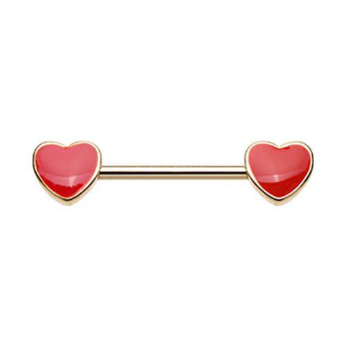 True Love Enamel Heart Inlay Nipple Barbell Ring