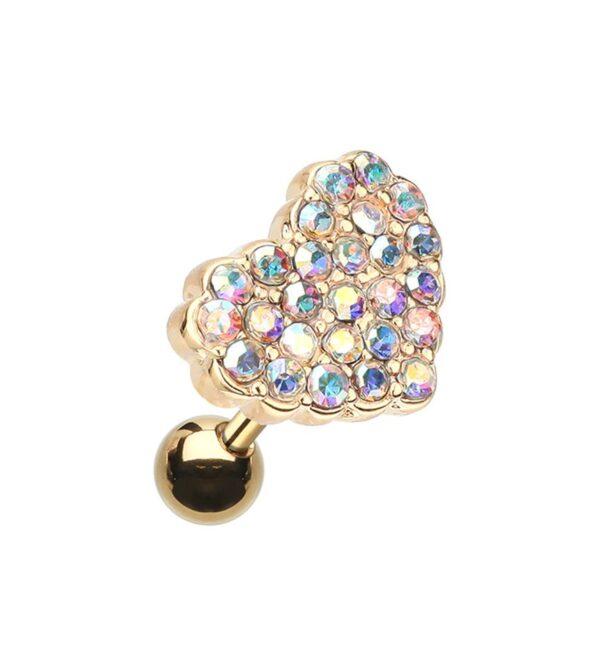 Golden Dot Heart Multi-Gem Cartilage Tragus Earring