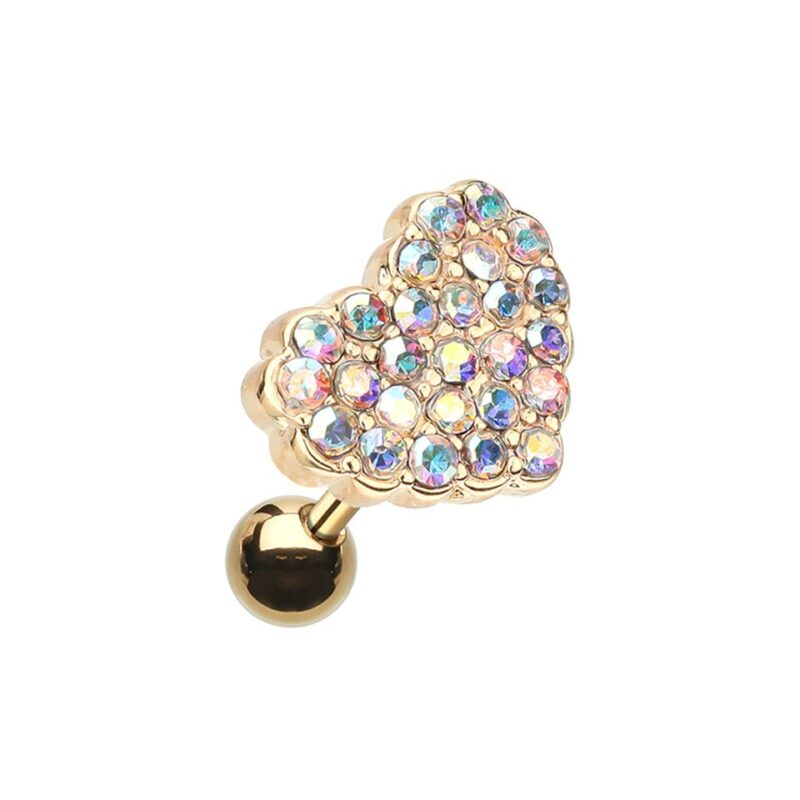 Golden Dot Heart Multi-Gem Cartilage Tragus Earring