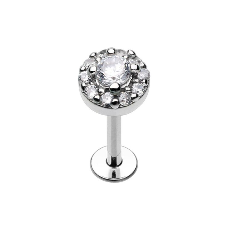 Round Embellished CZ Ornate Top Steel Labrat
