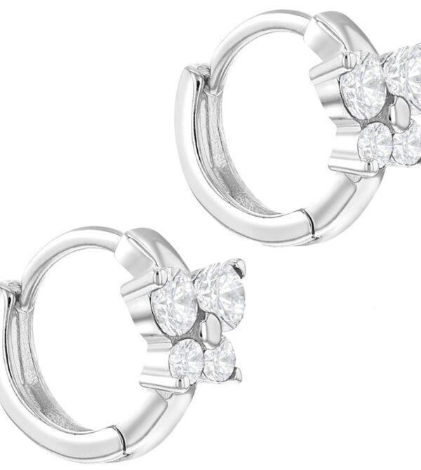 925 Sterling Silver Butterfly Hoop Earrings CZ Toddler Girls Huggie