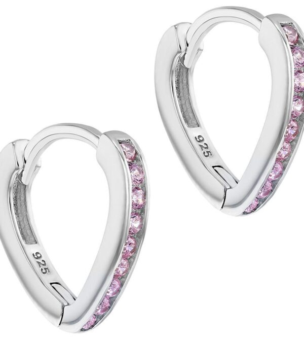 925 Sterling Silver Pink CZ Small Long Hoop Earrings Girls Teens
