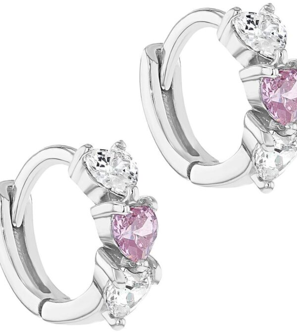 925 Sterling Silver Clear Pink CZ Heart Baby Hoop Earrings Infant Girl