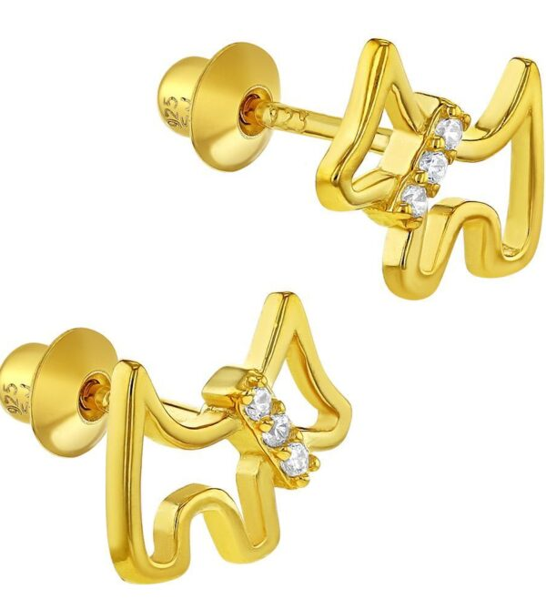 925 Sterling Silver Gold Plated Clear Cubic Zirconia Scottie Dog Puppy Screw Back Toddler Earrings