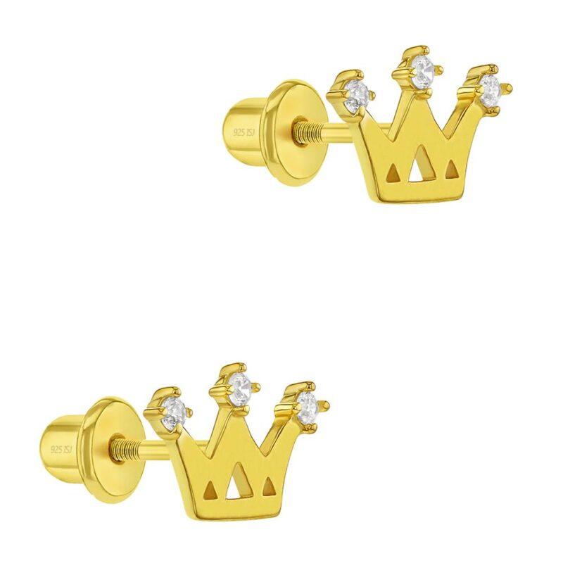 Clear Zirconia Princess Crown Screw Back