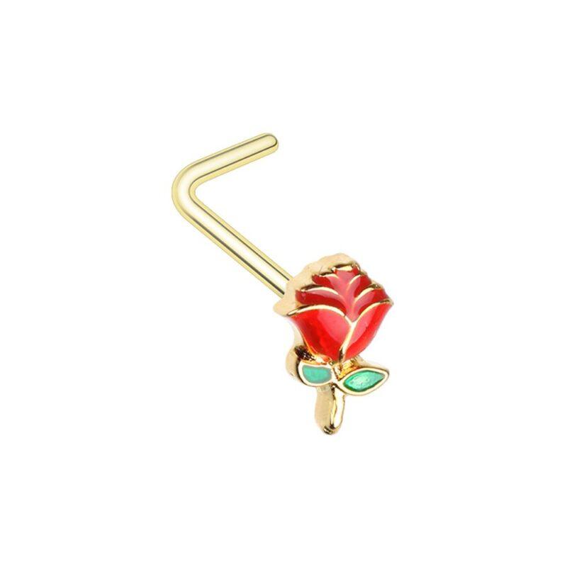 Golden Enchanted Rose L-Shaped Nose Ring