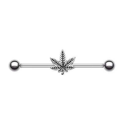 Marijuana Cannabis Pot Leaf Industrial Barbell