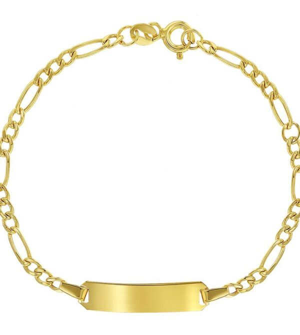 14k Yellow Gold Identification Tag Bracelet for Children