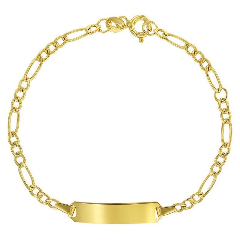 14k Yellow Gold Identification Tag Bracelet for Children