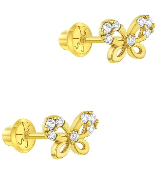 14k Yellow Gold Small Butterfly Screw Back Earrings