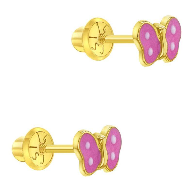 14K Yellow Gold Pink Enamel Small Butterfly Screw Back Baby Girls Earrings