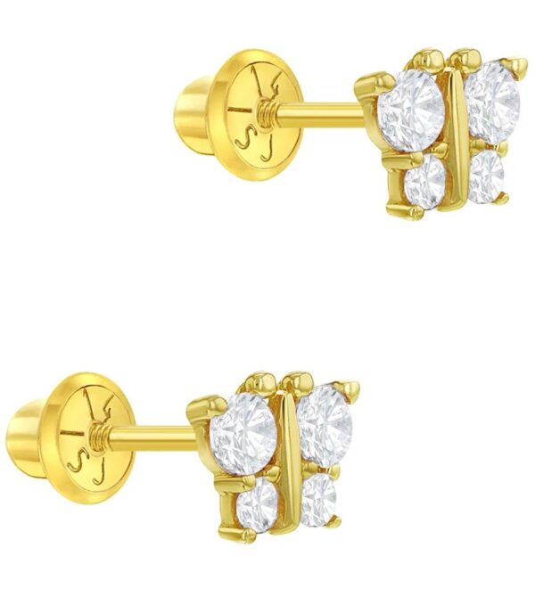 14k Yellow Gold Butterfly Screw Back Baby Earrings