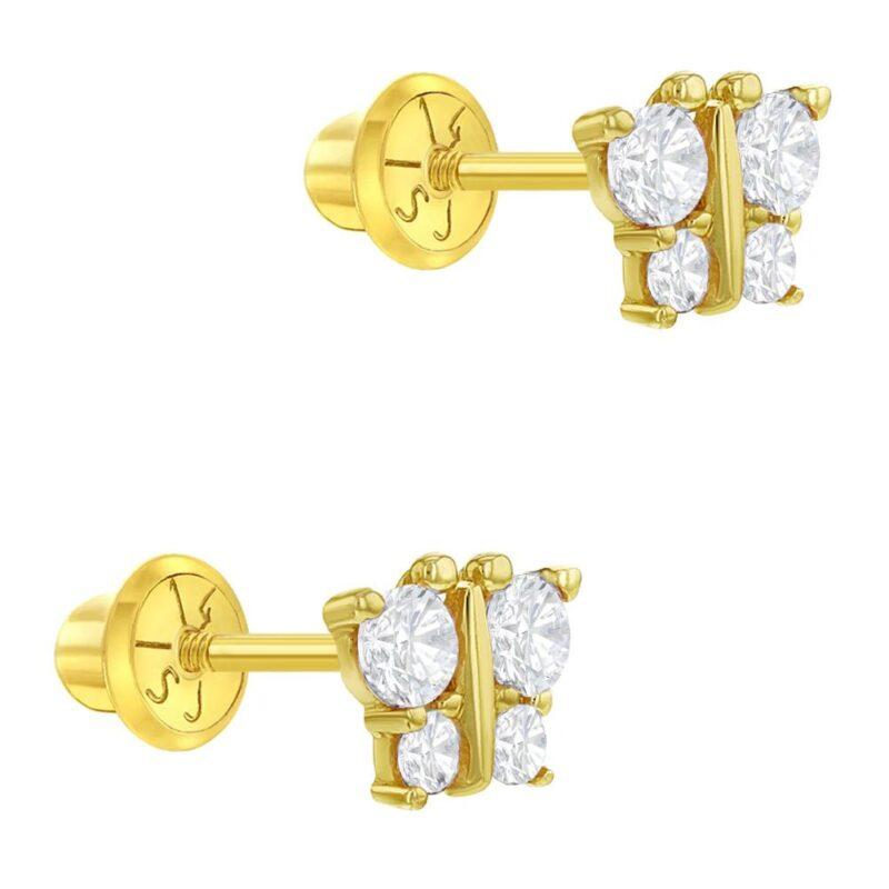 14k Yellow Gold Butterfly Screw Back Baby Earrings