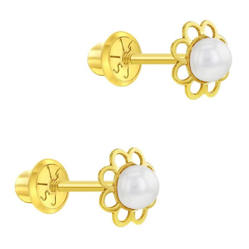 14k Yellow Gold White Pearl Screw Back Earrings