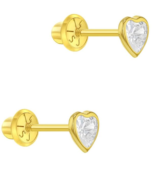 14k Yellow Gold Cubic Zirconia Bezel Small Heart Screw Back Earrings Baby Girls