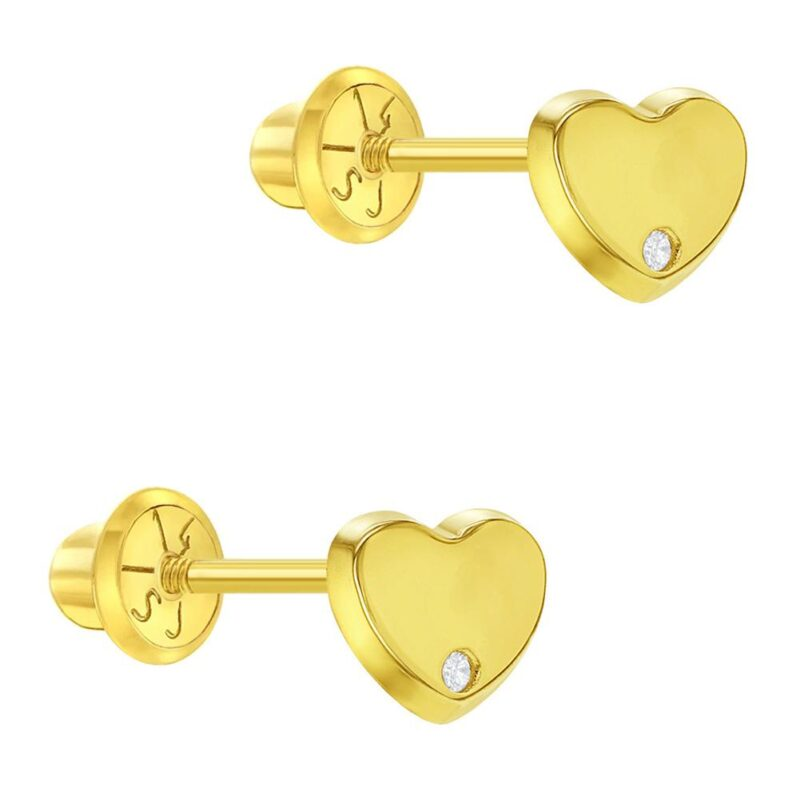 14k Yellow Gold Diamond Accent Small Heart Screw Back Earrings Infants Girls