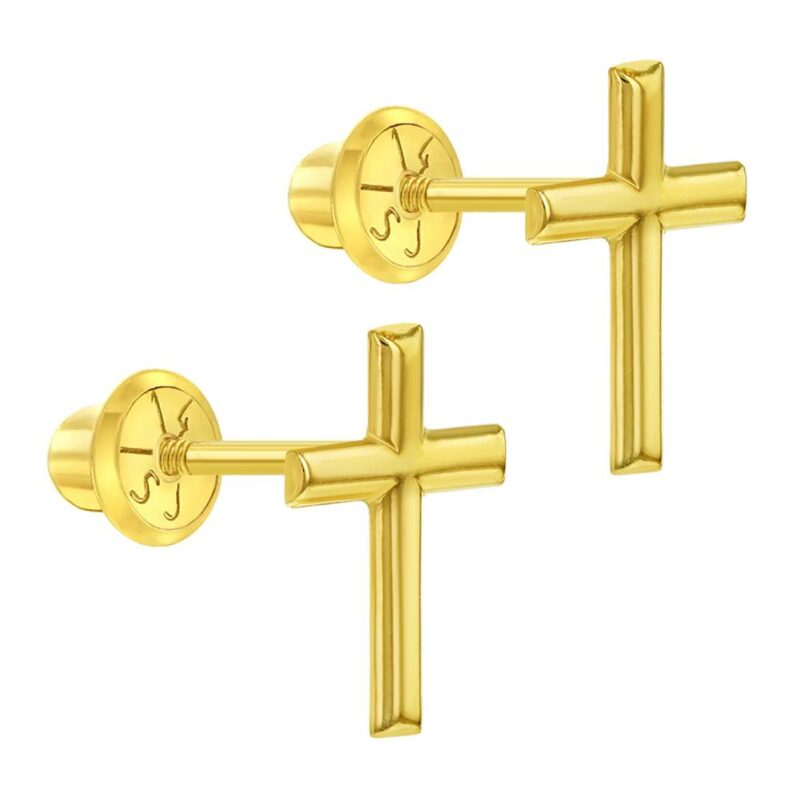 14k Yellow Gold Plain Cross Screw Back Religious Earrings for Girls or Pre Teens