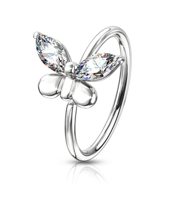 CZ Butterfly Bendable Nose Cartilage Hoop Rings