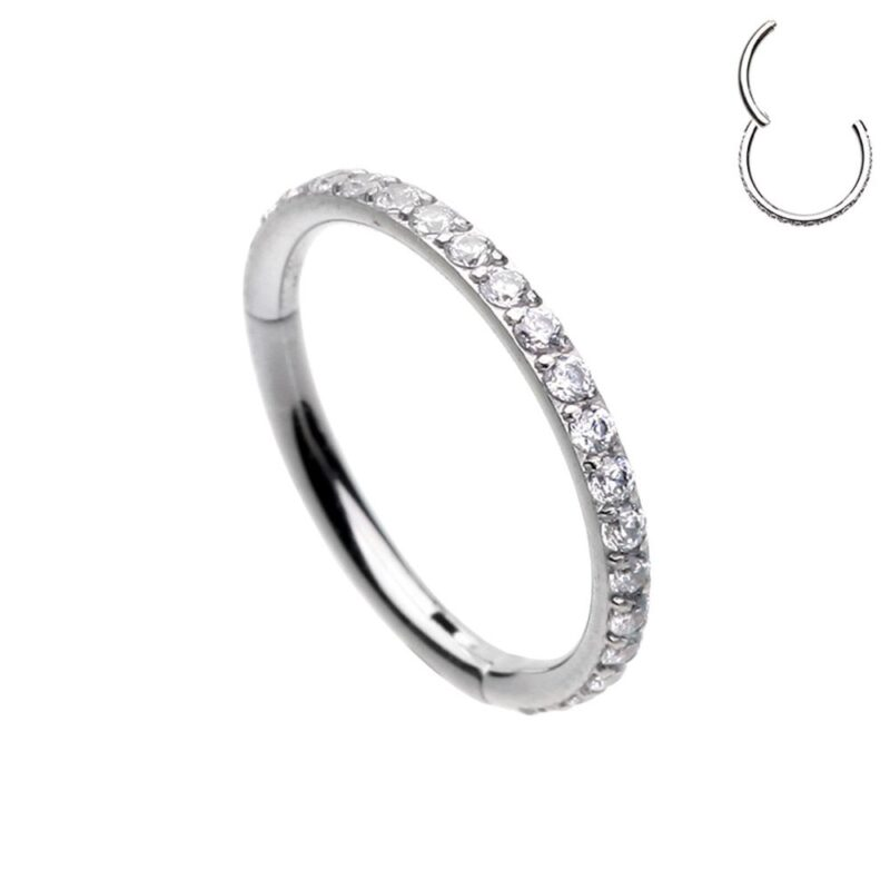 Side Facing Multi Gem Hinged Clicker Ring Thickness