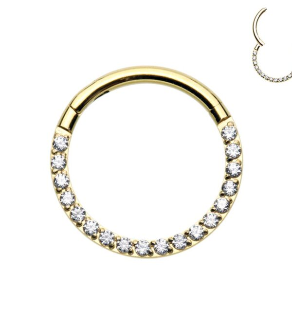 Front Facing Multi Gem Hinged Clicker Ring