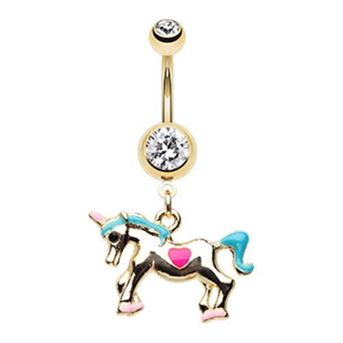 Golden I Believe In Unicorn Belly Button Ring Thickness