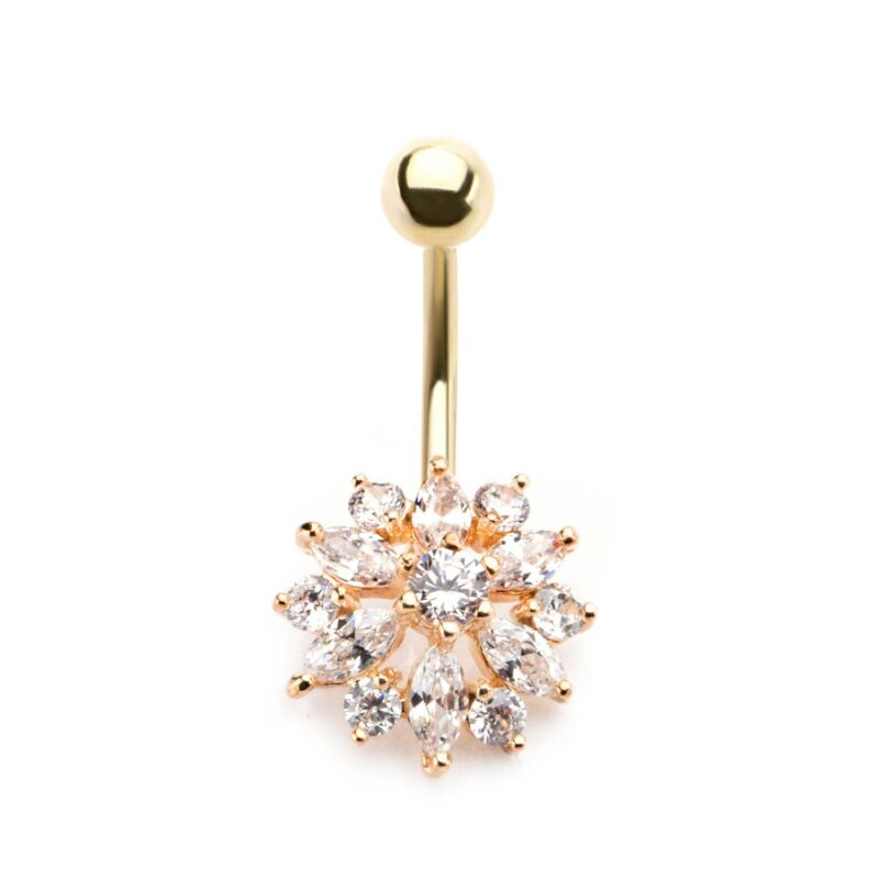 Gold Plated Navel Clear Gems Flower Fixed Charm
