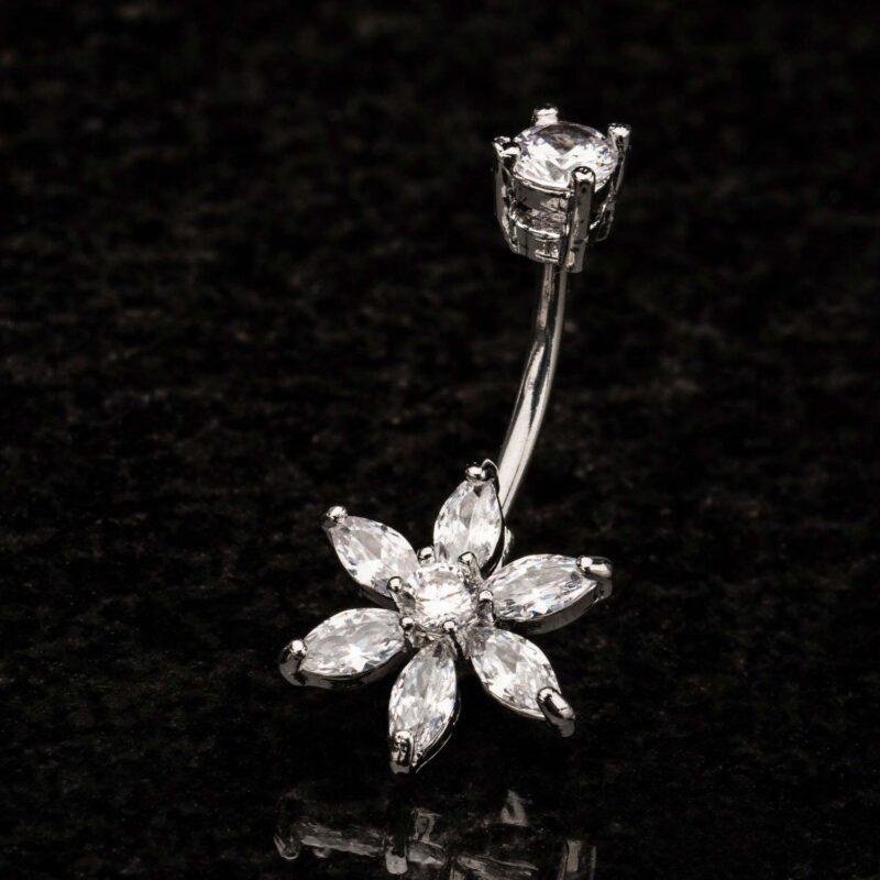 Navel Clear Gems Flower Petal Fixed Charm