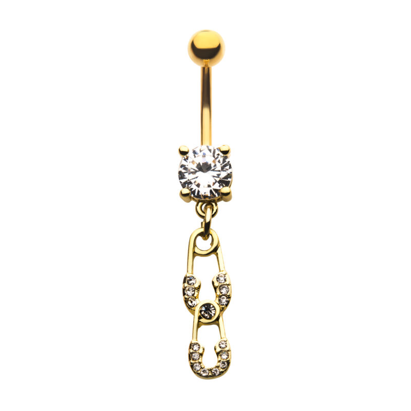Clear CZ Safety Pin Dangle Navel