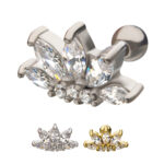 Casting Prong Set Flower Clear CZ Cartilage Barbell