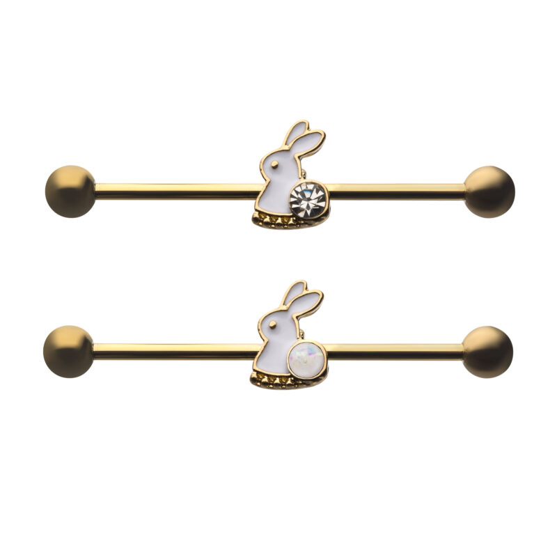 Gold Plated Rabbit Industrial Barbell