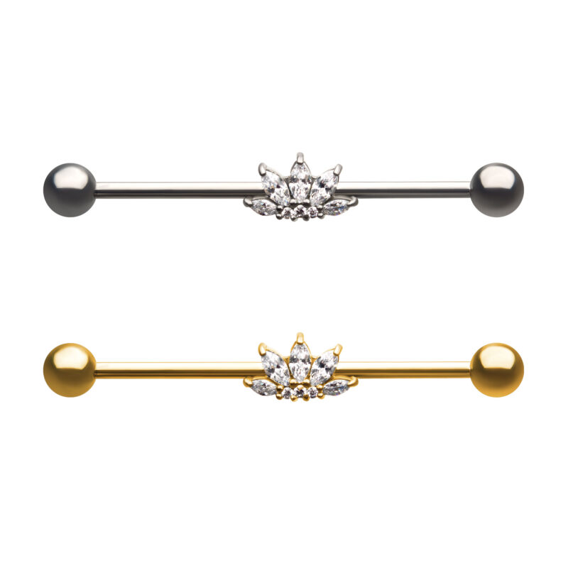 5-Prong Set Clear CZ Flower Industrial Barbell