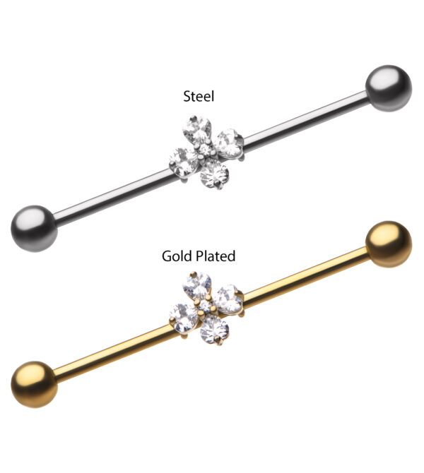 4-Prong Set Clear CZ Hearts Industrial Barbell