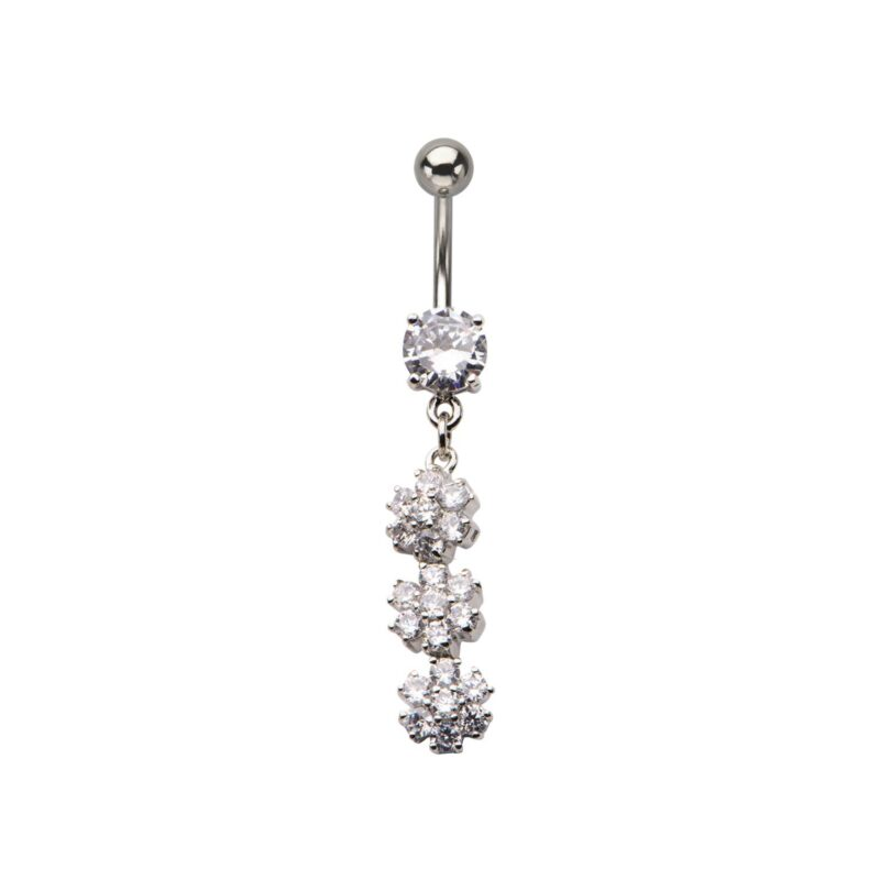 Navel with Three Gem Flower Dangle Charm