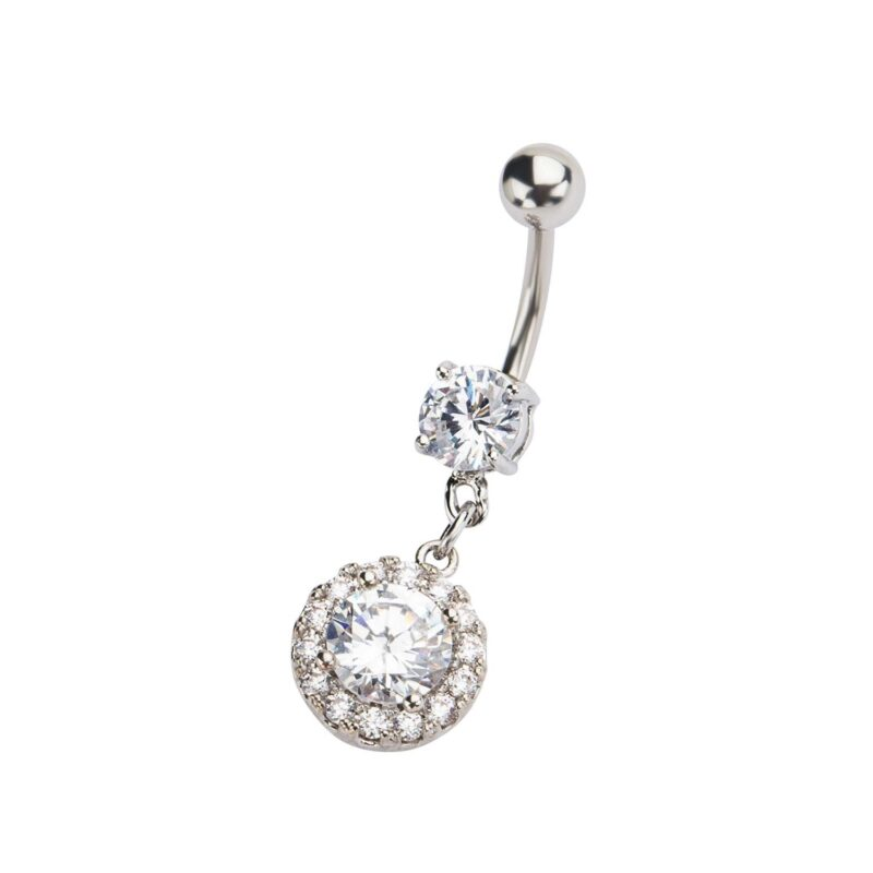 Navel with Clear CZ Gem Circle Dangle Charm