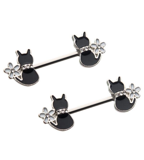 Enamel Daisy Flower Clear CZ Black Cat Nipple Barbell