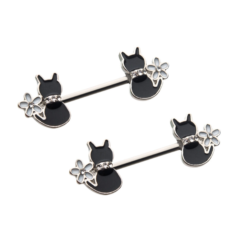 Enamel Daisy Flower Clear CZ Black Cat Nipple Barbell
