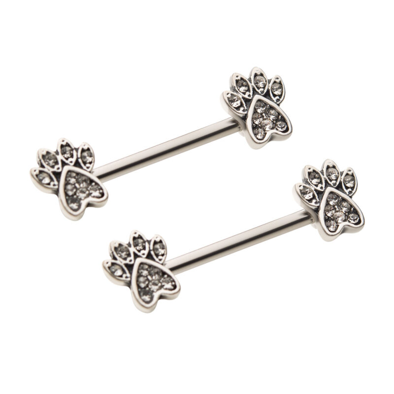 Clear CZ Black Paw Nipple Barbell