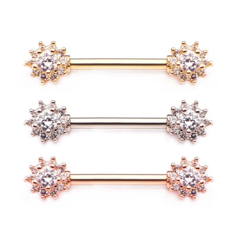 Front Facing Flower Cluster Nipple Barbells