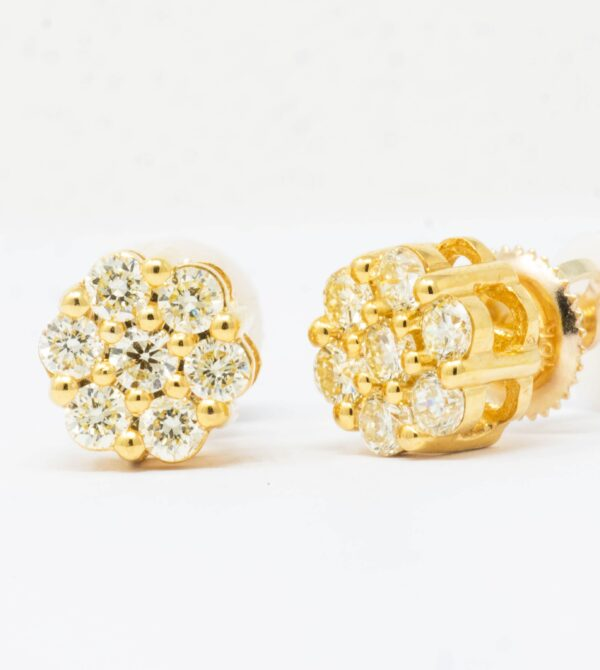 10K Yellow Gold Diamond Flower Stud Earrings