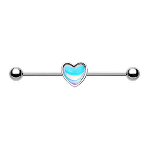 Simple Revo Heart Inlay Industrial Barbell
