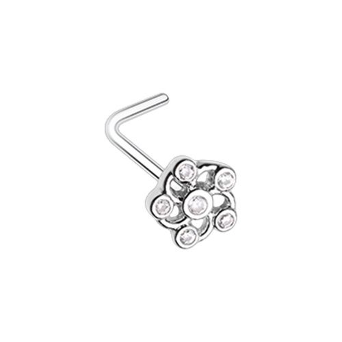 Lavish Flower CZ L-Shaped Nose Ring